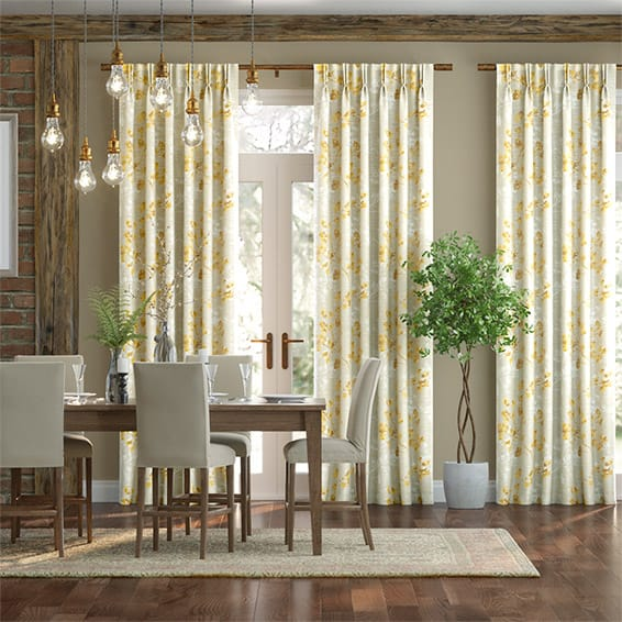 Renaissance Faux Silk Golden Curtains