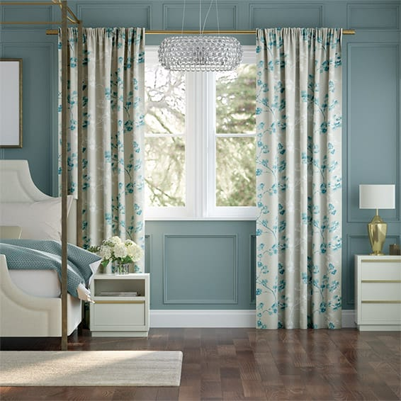 Renaissance Linen Aqua Blue Curtains