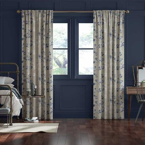 Renaissance Linen Vintage Blueberry Curtains