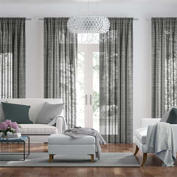 Rochana Voile Mineral Grey Curtains
