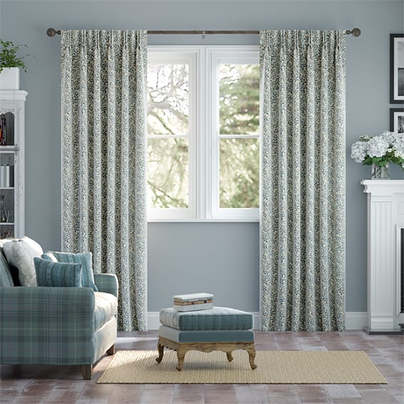 Rosehip Leaf Blue Curtains