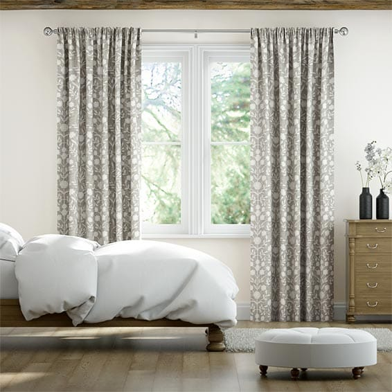 Rosemoor Embroidered Ash Ready Made Curtains