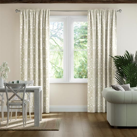 Rosemoor Embroidered Sand Ready Made Curtains