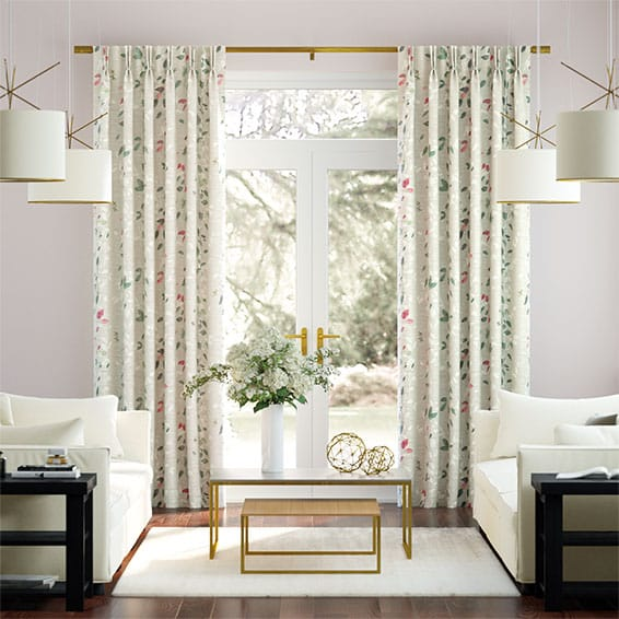 Secret Garden Faux Silk Rose Curtains