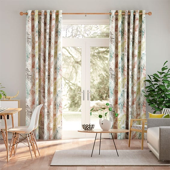 Shadow Leaf Linen Spice Curtains