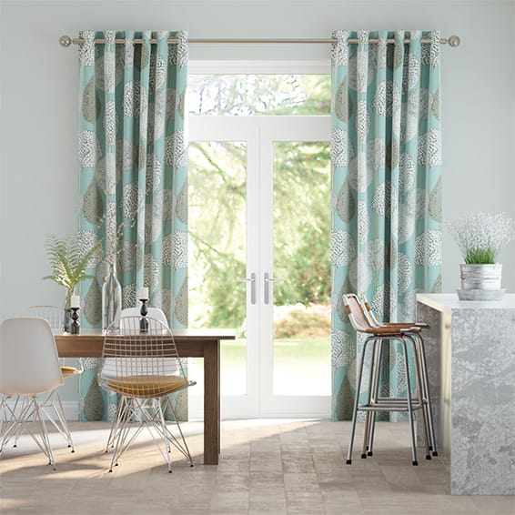 Silhouette Aqua Curtains