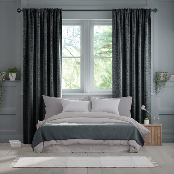 Smooth Sisal Graphite Curtains