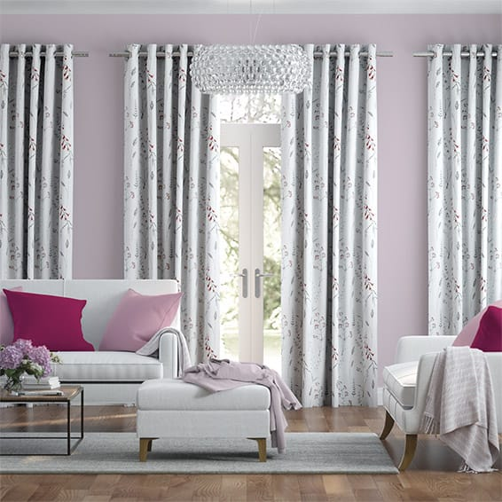 Spring Meadow Embroidered Coral Curtains