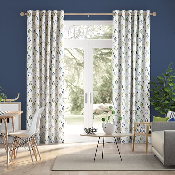 Spring Prairie Linen Evergreen Curtains