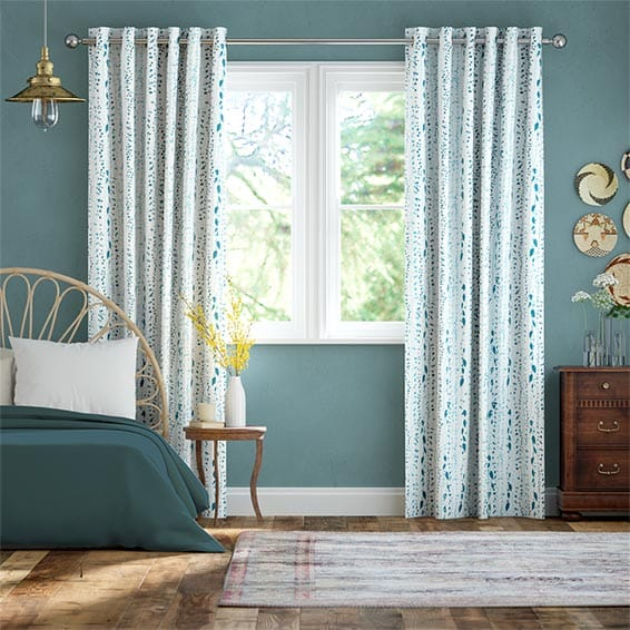 String of Hearts Teal Curtains