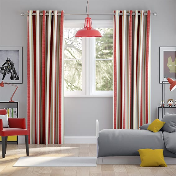 Truro Stripe Candy Red Curtains
