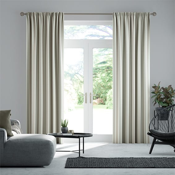 Truro Stripe Linen Sandstone Curtains
