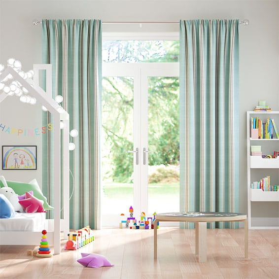 Tutbury Stripe Aqua Curtains