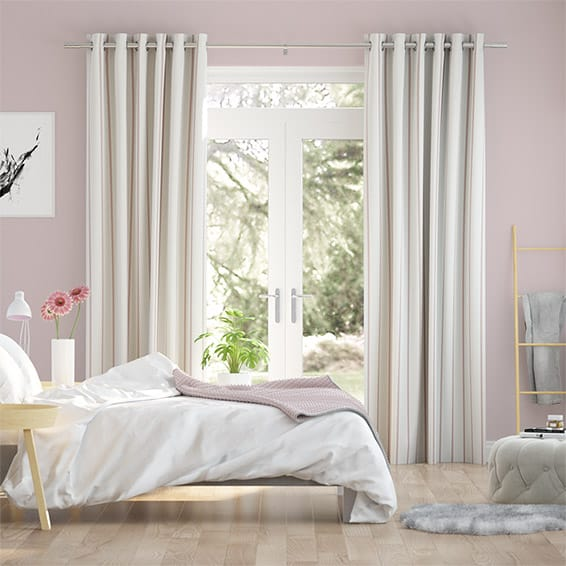 Twill Stripe Blush Curtains