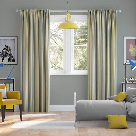 Twill Stripe Linen Citronella Curtains
