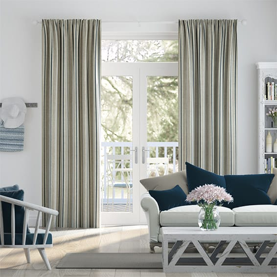 Twill Stripe Linen Deep Blue Curtains