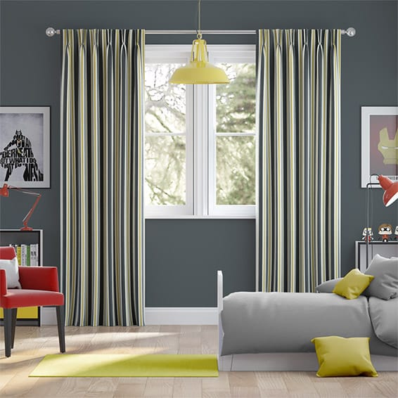 Twill Stripe Linen Gold Shadow Curtains