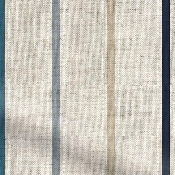 Twill Stripe Linen Ribbon Blue Curtains