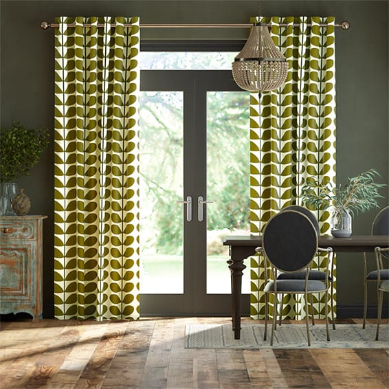 Two Colour Stem Olive Curtains