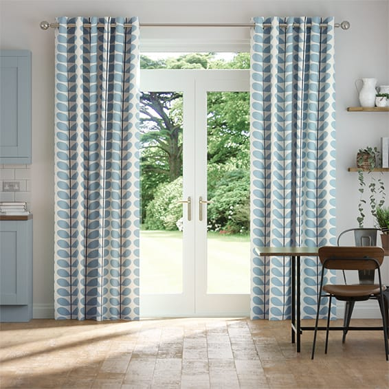 Two Colour Stem Powder Blue Curtains