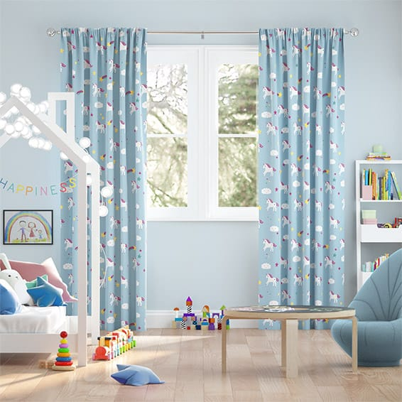 Unicorn Dreams Blue Curtains