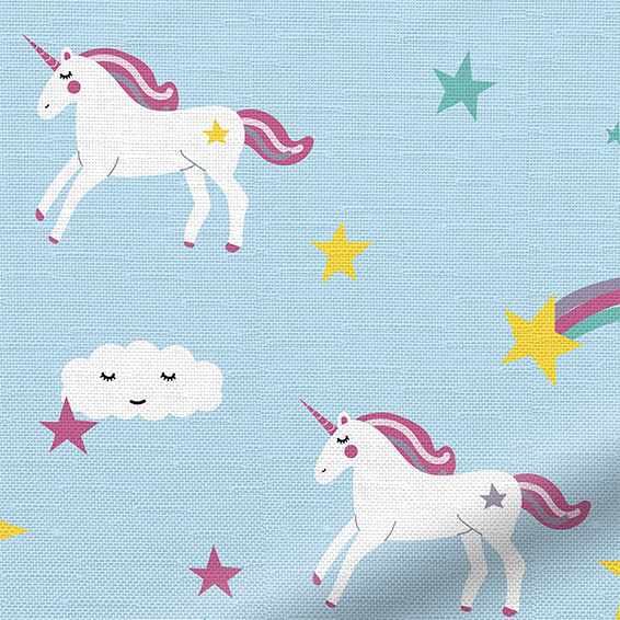 Baby Curtains 2go Range Beautiful Sky Blue Unicorn