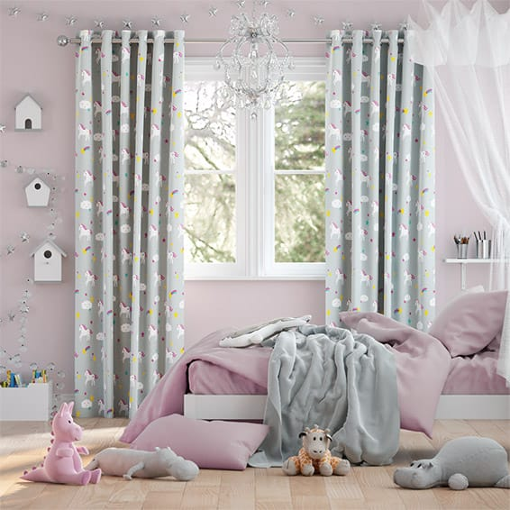 Unicorn Dreams Grey Curtains