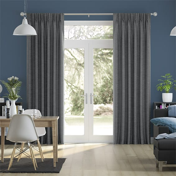Vicenza Faux Silk Charcoal Curtains
