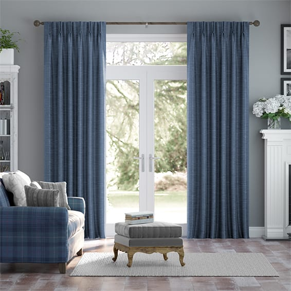 Vicenza Faux Silk Navy Curtains