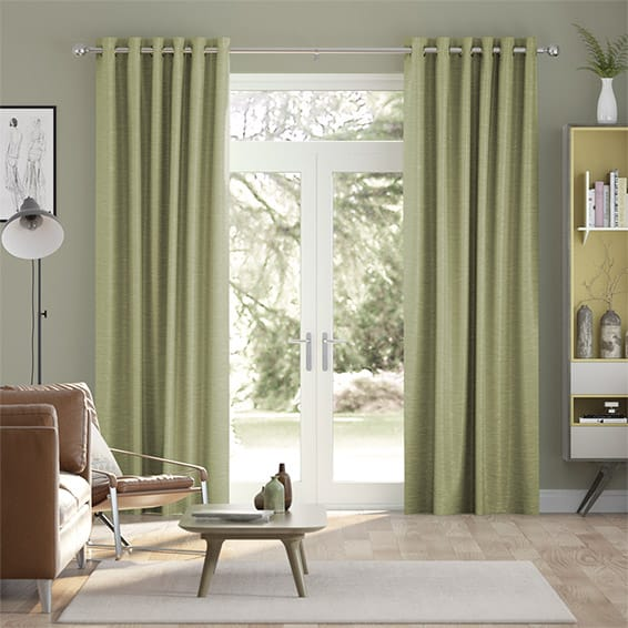 Vicenza Faux Silk Olive Curtains