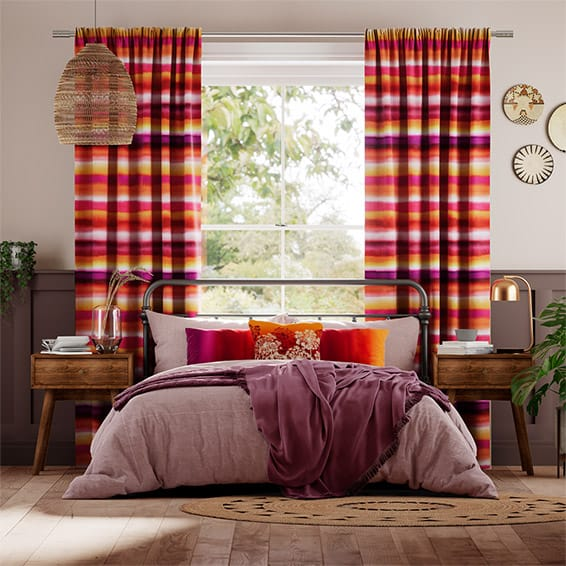 Watercolour Stripe Sunset Curtains