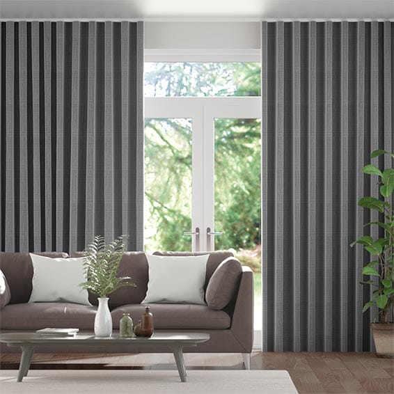 Wave Amore Gunmetal Grey Curtains