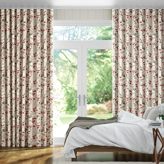 Wave Bursting Berries Linen Cherry Pop Curtains