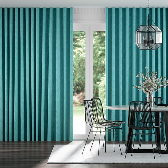 Wave Cavendish Aqua  Curtains