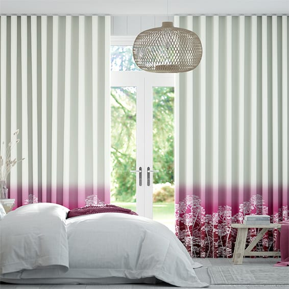 Wave Dill Fuchsia Curtains