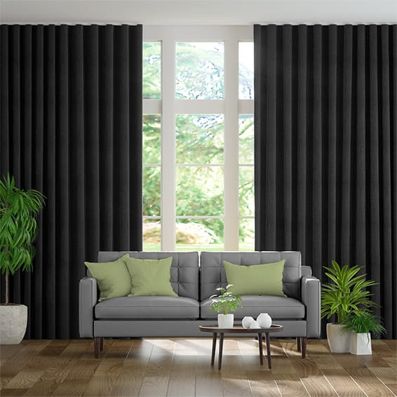 Wave Eternity Linen Charcoal Curtains