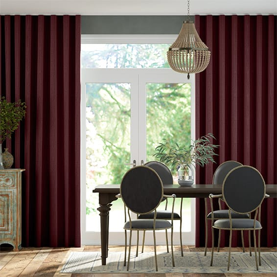 Wave Paleo Linen Ruby Red  Curtains