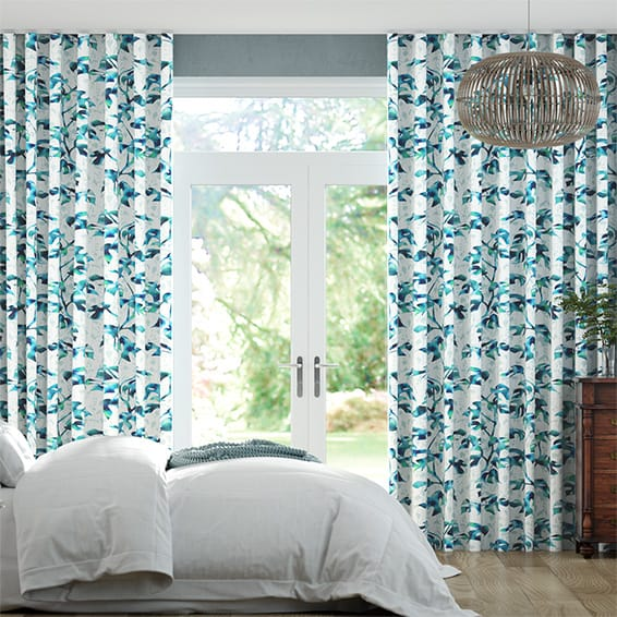 Wave Rainforest Teal Curtains