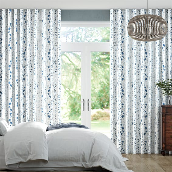 Wave String of Hearts Blue Curtains