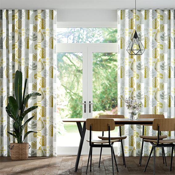 Wave Tropical Leaves Ochre Curtains