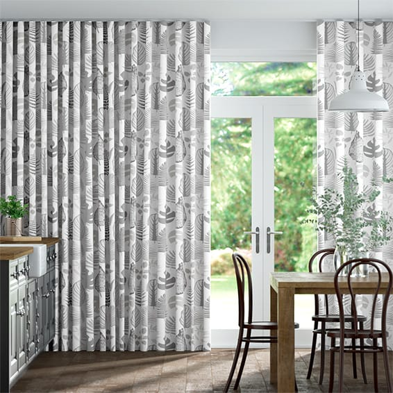 Wave Tropical Leaves Pebble Curtains