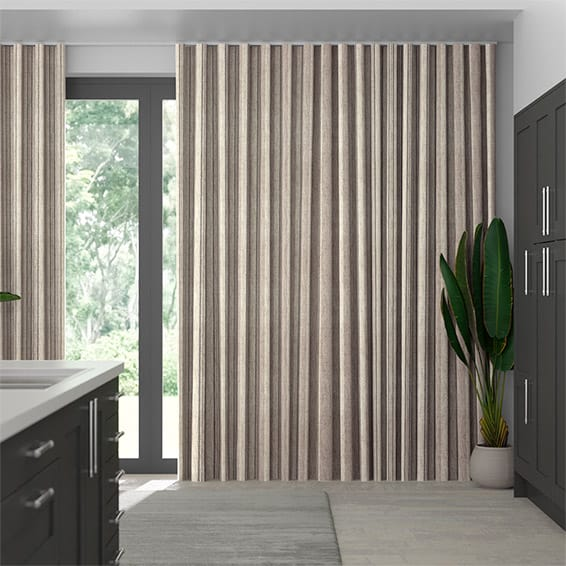 Wave Truro Stripe Linen Sandstone Curtains