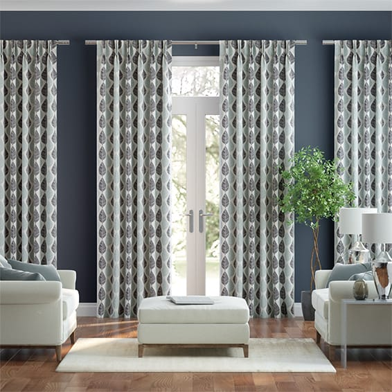 Winter Leaf Linen Gentle Blue Curtains