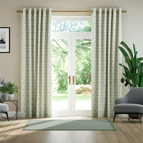 Woven Acorn Cup Mid Powder Blue Ready Made Curtains