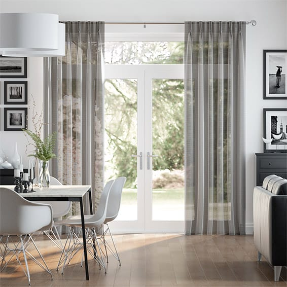 Woven Voile Pewter Curtains